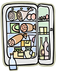 Refrigerator with food in it