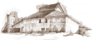 Ties to the land logo -- picture of a barn