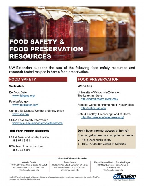 Food safety and food preservation flyer