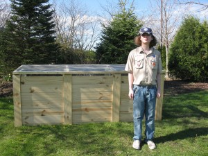 Compost bins were constructed for this garden by Tommy Glass for his Eagle Scout project in 2016.